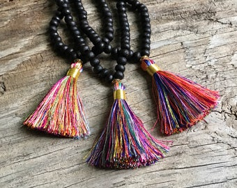 colorful tassel necklace with dark wood 108 mala beads