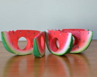 Vintage six wooden watermelon napkin rings CGT1