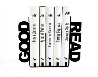 Unique Metal Bookends - Good read - // decorative book holders // modern home decor // for book lover // birthday gift / FREE SHIPPING