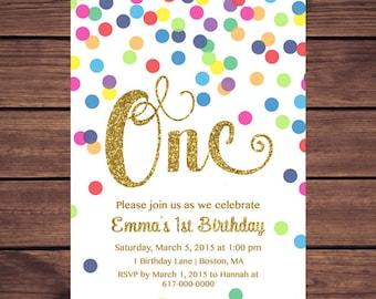 Rainbow Gold 1st Birthday Invitation Girl, Any Age Rainbow Dots and Gold Girl First Confetti Birthday Invitation, Polka Dot  852 Printable