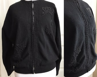 1950s / 50s Vintage Black Beaded Wool cardigan with floral design by Ron Richard size L