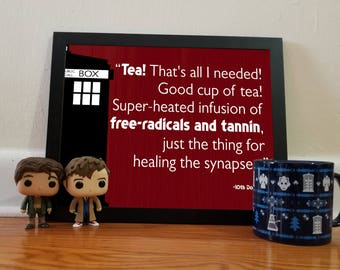 Doctor Who Tea Quote - Red - 11x14