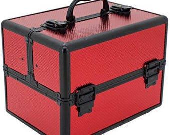 Aluminium Cosmetic Train Makeup Case Red