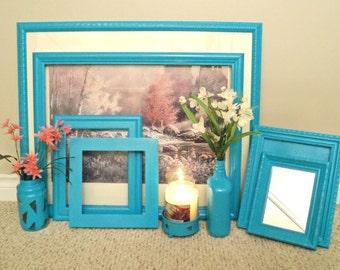 Shabby Chic Frames, Wedding Frames, Vintage Frames, Turquoise Gallery Frames,Home & Living,Housewares,Home Decor