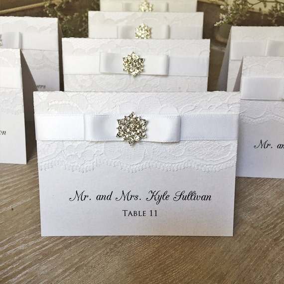 Crystal Lace Place Cards - Lace Escort Cards - Elegant Table Cards - Couture Name Cards - Ivory or White Lace with Crystal Snowflake Button