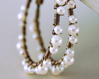 Swarovski Pearl Lace Earrings, Hoops, Ivory, Antiqued Brass, Wire Wrapped, Feminine Jewelry