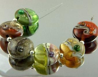 Handmade Glass Lampwork Beads Set with Mulicolor Organic Design