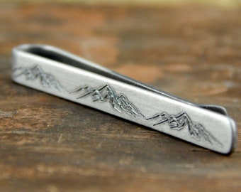 Mountains tie clip, engraved sterling silver tie bar, mountain range, groomsmen gift, 2 inches x 5 mm, 1 mm thick.