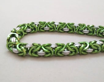 Handmade Chainmail Bracelet Square .048in Byzantine Lime & Bright Silver Anodized Aluminum Maille Jewelry
