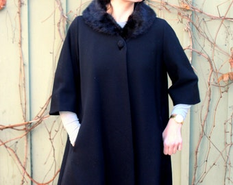 vintage Black Swing Coat late 1950s early 1960s beautiful wool trapeze coat with black mink collar size medium to large