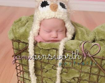 Newborn Owl Hat -  Baby Owl Hat - Fuzzy Owl Hat, Baby Crochet Hat Photo Prop