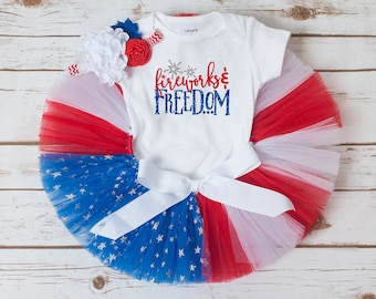 Fourth of July outfit, flag tutu, baby girl fourth of July, patriotic tutu outfit, toddler girl 4th of July outfit, first 4th of July baby