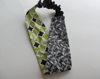 Reversible Green/Black Fabric Headband