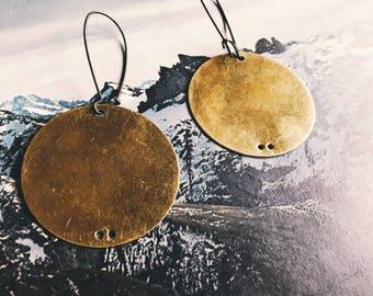 brass circle earrings simple everyday earrings