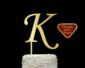 Letter K Cake Topper, initial cake topper, Gold Cake Topper, monogram wedding cake topper, letter cake topper, gold cake topper k, CT#075