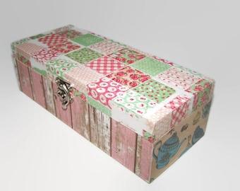 Decoupage Wooden Tea Box - Shabby Chic Kitchen Storage -  Decoupage Caddy - Cottage Chic Decor