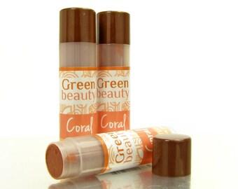 Tinted lip balm, Coral, Natural Lip Balm, lip tint, natural makeup, mineral makeup, sheer lip color, moisturizing lip balm, cosmetics, YLBB