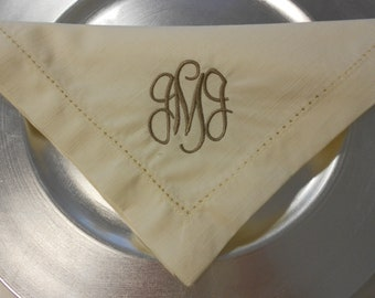 Monogrammed Napkins Linen-Like Set of 6 Font Shown ARABESQUE