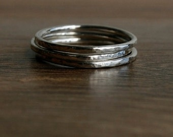 Silver Trio Stacking Ring Band - Set of 3 - Sterling Silver Band - Thin Ring Bands - Stacking Rings