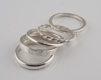 Hand Made Silver stack rings set of five