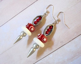 Red, White and Brushed Silver Retro Boho Spike Earrings (3669)
