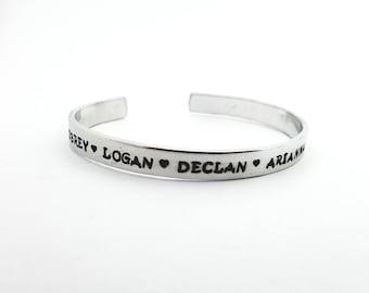 Cuff Bracelet - Hand Stamped Cuff - Kids Name Bracelet - Mothers Bracelet - Custom Cuff - Minimalist Bracelet - Personalized Cuff - Bracelet
