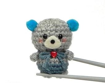 Amigurumi Ocean Blue pom pom ears BBQ MochiQtie mochi size crochet amigurumi mini toy  doll