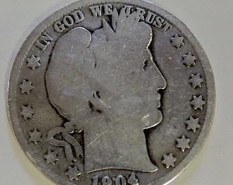 Vintage 1904 S Barber Half Dollar, Collectible Barber, Silver Half Dollar, Silver Coins, USA Coins, Free Shipping - REDuCED