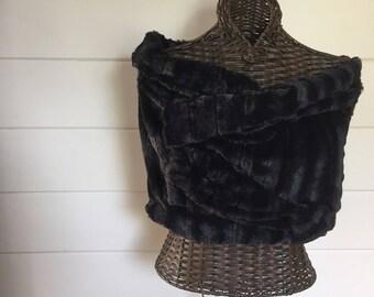 Black faux fur wrap faux fur stole bride bridesmaid
