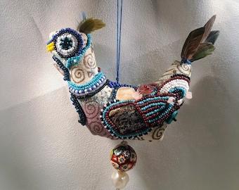 Beaded Bird Folk Ornament Art Doll