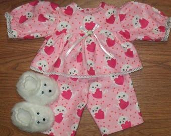 "NEW For Cabbage Patch Girls 16"" Doll Clothes Kitty Cat Heart Pajamas and Teddy Bear Slippers"