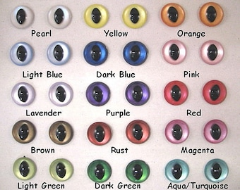 15 Pair 15mm Iridescent Slit Pupil Plastic Safety Eyes with plastic washers for Dragons, Frogs, Cats, Mermaids, Fairies ( ISPE-1 )