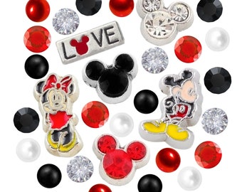 Mickey and Minnie Inspired Floating Charms Set W/ Czech Crystals