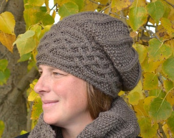KNITTING PATTERN PDF Slouch Hat - Cable knit slouch hat, Woman's slouch hat, Woman's hat, knit hat, knitting pattern hat