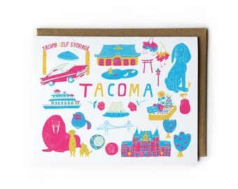 Tacoma Greeting Card, Washington State Art, Best Friend Gift, Pop Art, Graduation Gift, Tacoma Dome, Meerkats, Folded Notecard, 4.25x5.5