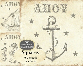 Ahoy Maritim Anchor Ship Seahorse Squares 2x2 inch squares Instant Download digital collage sheet TW121