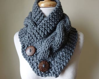 """Knit Neck Warmer, Cable Knit Scarf,  Chunky Warm Winter Scarf in Oxford Grey 6"""" x 25"""" Coconut Shell Buttons Ready to Ship - Gift for Her"""