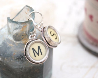 Monogram Earrings Custom made Ivory Typewriter Key Earings Customized Letters Initials Vintage Typewriter Jewelry Holiday Gifts for Mom