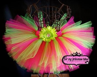 Hot Pink & Lime Tutu - newborn tutu, infant tutu, baby tutu, toddler tutu, dance tutu, 1st birthday tutu, birthday tutu, flower girl tutu