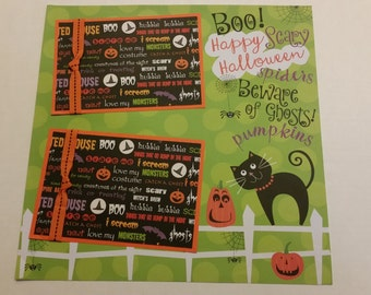 """Happy Halloween Premade 12""""x12"""" Scrapbook Layout Page Shadow Box Framed Gift, Halloween Party Gift or Decoration"""