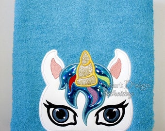 "Unicorn Peeker Applique 13x18cm 5x7"" Hooded Towel Embroidery Design Stickdatei"