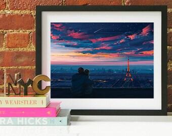 Paris Eiffel Art Print, Paris Skyline, Paris Art, Paris Poster, Paris Print, Paris Art, Paris Map, Paris Wall Art, France Art, Paris Skyline
