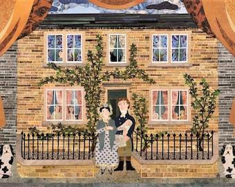 Bronte Schwestern Gruß Card· Papier Collage· Familie Home· Neue Baby· Autoren Houses· Brontë Birthplace· Dogs· Children· Folk Art· Amanda weiss