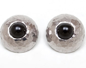 1980s - Silver Tone Earrings w Black Stone Center - Clips - Hammered Finish