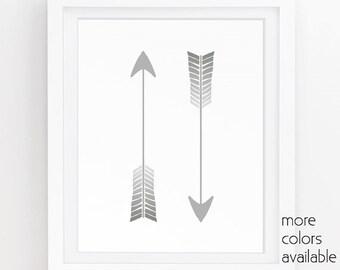 Arrow print, Gray wall decor, Masculine wall art, Arrow download, Minimalist art print, Digital print download, 5x7, 8x10, 11x14  250a