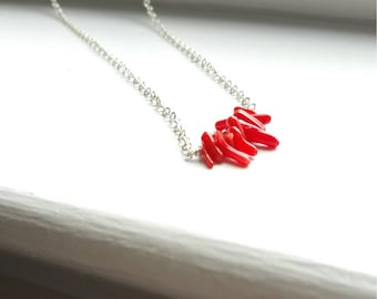Coral Chain Necklace - Coral Bar Necklace - Sterling Silver Chain Necklace - Red Coral Necklace