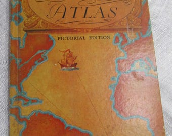 Rand McNally World Atlas Pictorial Edition; Gazetteer; Index of the World; Travel Map of the U.S.; hardcover book; copyright 1934 and 1935