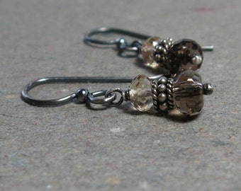 Smoky, Champagne Quartz Earrings Brown Gemstones Oxidized Sterling Silver Earrings