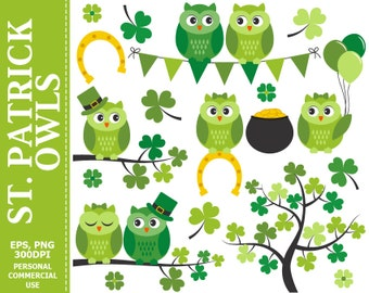 St Patrick Owls Clip Art - Owls, Spring, Irish, Branch, Pot of Gold, Shamrock Clip Art,