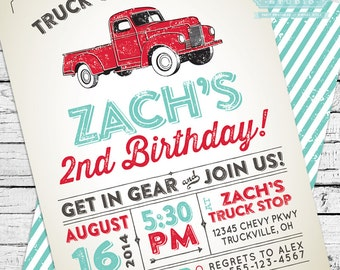 Vintage Truck Invitation + Thank You Note